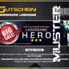 Lasertag Berlin-Ticket Muster für das Lasergamepaket Hero